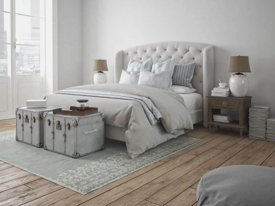 Helles Schlafzimmer mit Holzboden © 2mmedia, stock.adobe.com