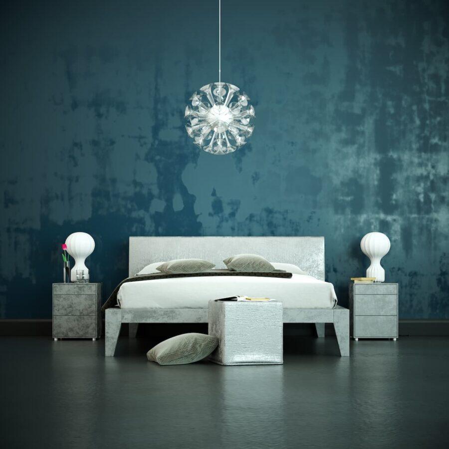 Schlafzimmer mit blauer Wandtapete © virtua73, stock.adobe.com